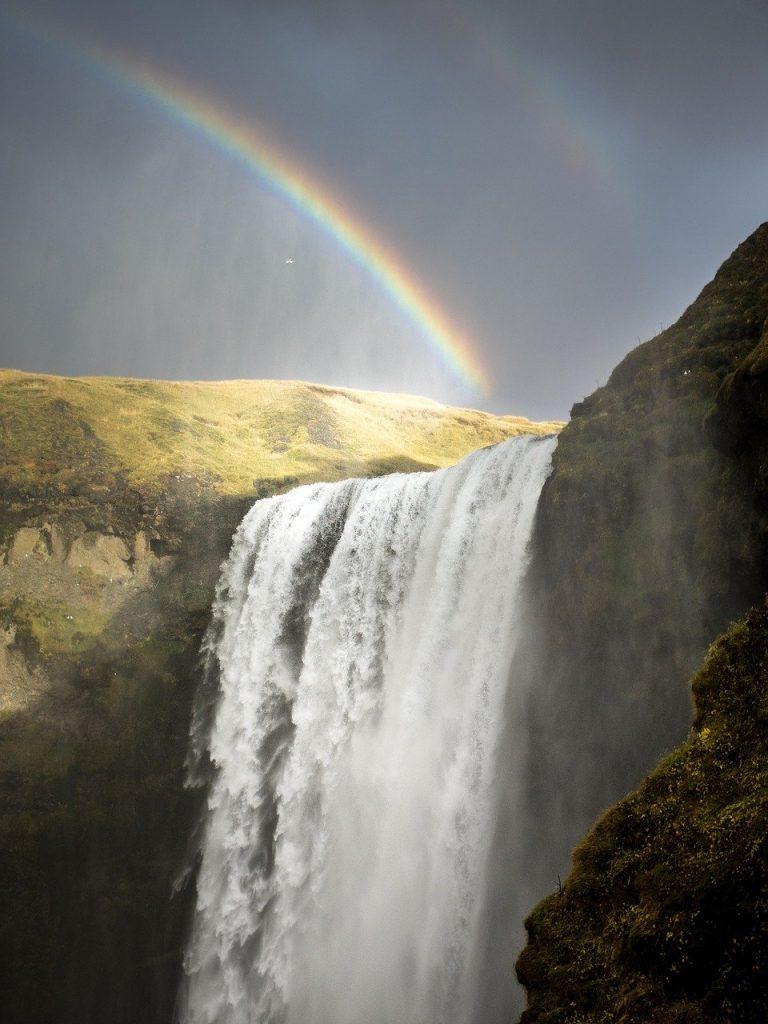 waterfall, iceland, rainbows